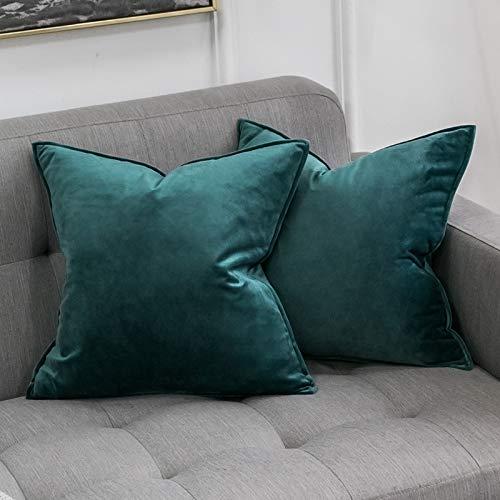 MIULEE 2er Set Samt Kissenbezug Kissenhülle Dekorative Dekokissen mit Verstecktem Reißverschluss Sofa Schlafzimmer 18x 18 Inch 45 x 45 cm 2er Set Malachitgrün