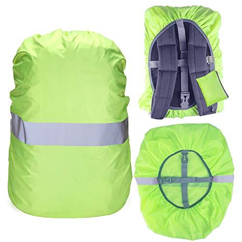Regenschutz für Rucksack Schulranzen, 100{4612c367ba42faf1b075dc4798b1efdbee7afe2c7bc05c583744720aa376beff} Wasserschutz Rucksack Cover mit Reflektorstreifen Rutschfester Kreuzschnalle, Perfekt für Camping, Wandern und Outdoor-Aktivitäten (Neon grün, 35L(30-40L))