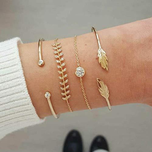 Zehory Boho Stackable Bracelet Set Gold Rhinestone Open Cuff Bangle Bracelet Leaf Charm Bracelets Jewelry for Women and Girls (4Pcs) (Style1)