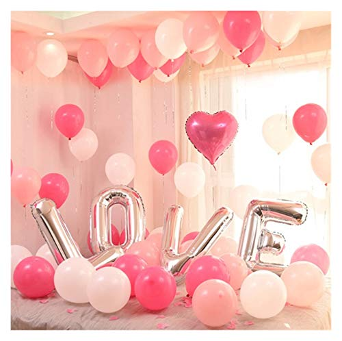 JSJJAES Balloons 32inch alphabet letter LOVE silver gold rose gold color foil balloon heart helium for wedding party decoration (Color : A set)