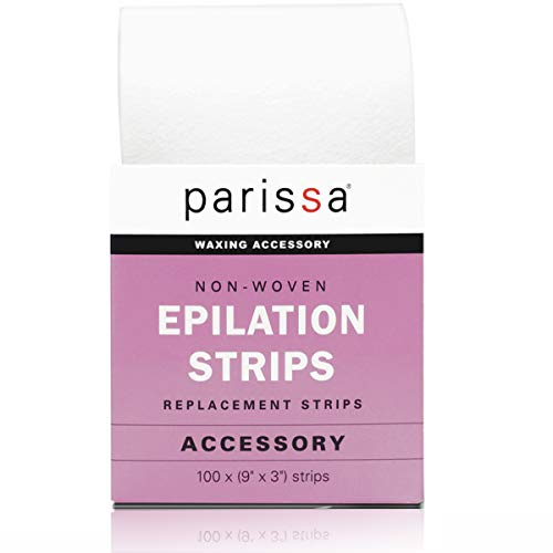 Parissa Epilation (Waxing) Non-Woven Cloth Strips, Replacement Strips for use with Hair Removal Liquid Wax, 100 x Large Size Strips 9'' x 3''