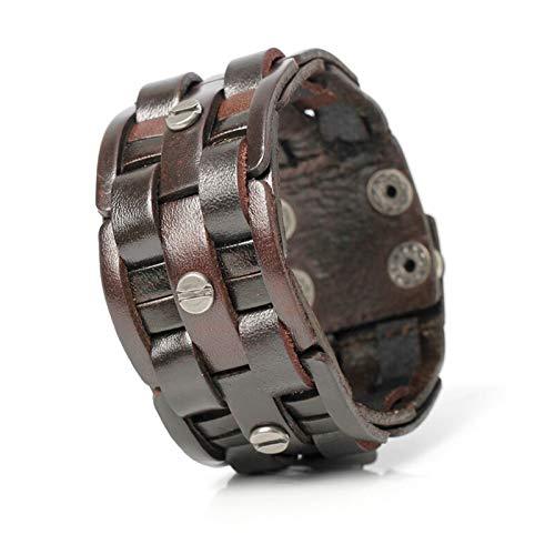 Pulseras de cuero negro para hombre, de moda, tejido a mano, diseño de mosaico, para hombre (color de metal: marrón)