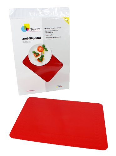 maddak shelf liners SP Ableware Tenura 100 Percent Silicone Non-Slip Table Mat, 13.75 Inches Length x 10 Inches Width - Red (753733501)