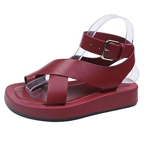 Koyike Hallux Valgus Plataforma Sandalia Señoras,Cómodo Cuero PU Tacón de Cuña Zapatos de Playa,Corrección de Pie Férulas para Juanetes Separador de Dedos,para la Fascitis Plantar,A-40