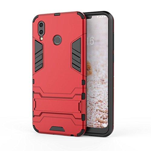 HDRUN Huawei Honor Play Hülle, 2 In1 Kratzfeste Handyhülle Hybrid TPU Silikon Bumper Schale PC Doppelschichter Schutzhülle mit Standfunktion für Huawei Honor Play Case Cover, Rot