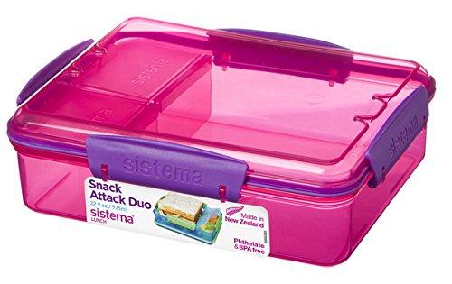 Sistema 3-Fach Geteilte Brotbox 975 ml Lunchbox 19,7 x 15,8 x 6 cm (LxBxH) Vesperbox (Pink)