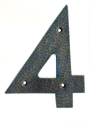 Copper house number, Arts & Crafts font Number 4, 4 inch