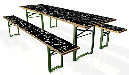 Wallario Tischdecke für Bierzeltgarnituren, selbstklebend, Folie für 1 Tisch und 2 Bänke - Motiv: Mathematische Formeln – Relativitätstheorie