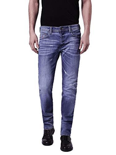 Diesel Herren Jeans Thavar C860F Stretch, Slim-Skinny, Dark-Blue/Faded (Dunkelblau/Verwaschen), Softly Destroyed, Vintage, Used-Look Denim (W28/L32)