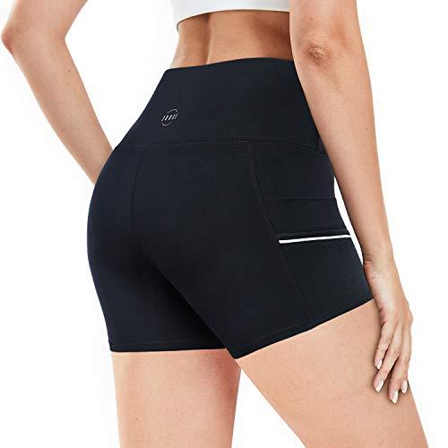 Souke Sports - Shorts de Yoga de Cintura Alta de 3'para Mujer, Pantalones Cortos elásticos para Entrenamiento, Correr, Deportes, Gimnasio, Fitness con Bolsillos