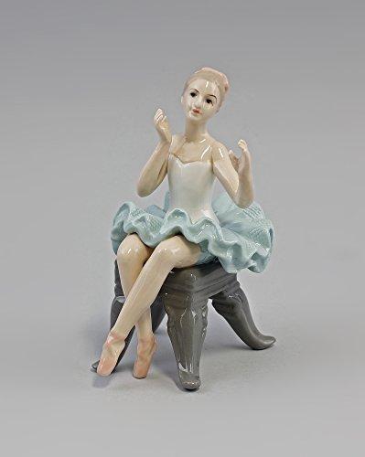 Porzellan-Figur Ballerina auf Hocker sitzend grün