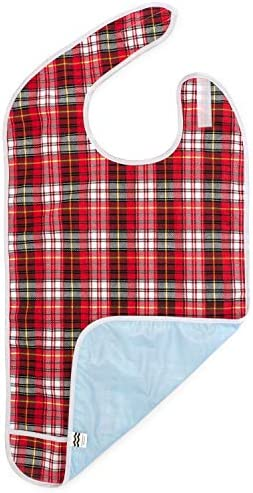 Adult Bib for Eating Waterproof Clothing Protector with Crumb Catcher Machine Washable Red Plaid product image
