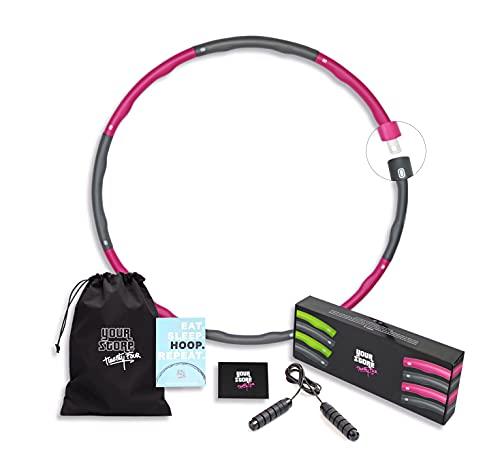 Premium Hula Hoop Reifen Erwachsene & Hula Hoop Reifen Kinder, im Set: Springseil Erwachsene & Springseil Kinder + größenverstellbarer Hoola Hoop Reifen Erwachsene [1,2kg] + Tasche & Hoop Challenge