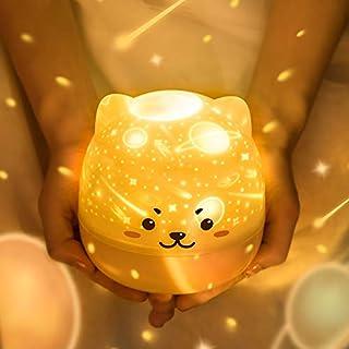 スタープロジェクター ベッドサイドランプ 七五三 調光 USB充電式 星空ライト 音楽再生 360度回転 夜間ライト 6セット投影映画フィルム五曲 3色LED 雰囲気作り ハロウィン クリスマス 誕生日 プレゼント (かわいい犬)