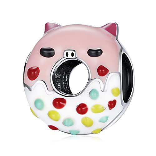 HMMJ Abalorio Colgante de Plata esterlina S925 para Mujer, Donuts con Forma de Cerdito Rosa Compatible con Todas Las Pulseras y Collares de Estilo Europeo SCC1879