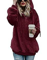 iWoo Hoodie dames capuchontrui teddy fleece pullover herfst winter warm bovendeel lange mouwen effen casual sweatshirt