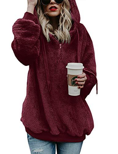 Romanstii Winterjacke Damen Einfarbig Lose Langarm Teddy-Mantel Flauschiger Reißverschluss Frauen Pullover(Weinrote Farbe,M)