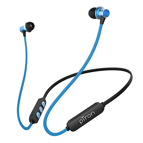 pTron Bassfest Plus Magnetic in-Ear Bluetooth 5.0 Wireless Headphones, Stereo Sound with Bass, IPX4 Water & Sweat Resistant, Voice Assistance, Ergonomic & Lightweight, Built-in Mic - (Black & Blue)