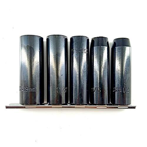 5pcs 1 / 2in unidad de impacto profundo conjunto de zócalo de impacto de alta resistencia Manguito de impacto de superficie de fosfato de manganesa Mangas neumáticas