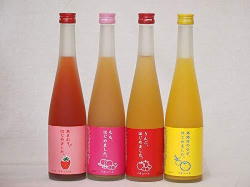 果物梅酒リキュールセット(ゆず梅酒 もも梅酒 あまおう梅酒 りんご梅酒)500ml×4本