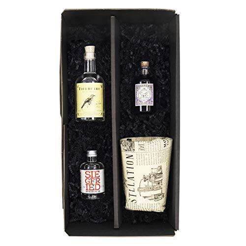 Reichelts I Feinste Getränke & Geschenke I Gin Tasting Set mit Monkey 47 Mini 0,05l + Siegfried Gin 0,04l + Fieldfare Diemel Dry Gin 0,1l + Monkey 47