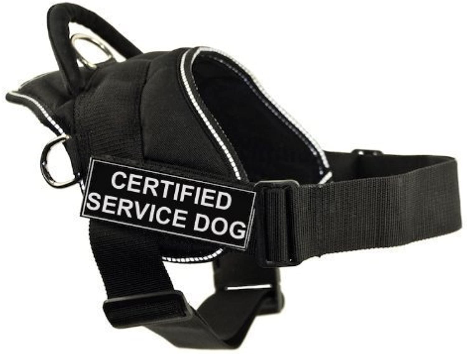 Dean & Tyler DT Fun Works Harness, Certified Service Dog, Black With Reflective Trim, Large  Fits Girth Size  32Inch to 42Inch