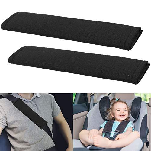 Gurtpolster fürs Auto, 2 Pack, schwarz, Gurt Hals Schutz, für Kinder und Erwachsene, Gurtschoner aus weicher Microfaser, Schulterpolster für angenehmes Auto-fahren, Autogurt Polsterung, Polsterkissen
