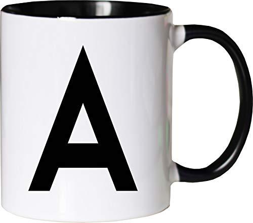 Mister Merchandise Becher Tasse Buchstabe A Kaffee Kaffeetasse Kaffeebecher Bedruckt Anfangsbuchstabe Initial Initialien Weiß-Schwarz