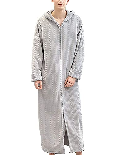 INSTO Vestido Vestido Vestido Largo Robe Plus Tizaje Fluffy Fleece Albornoz Invierno Toalla Cálida Toalla Ropa de Night Ropa de Dormir con Capucha con Capucha,Hombres Grises Claros,L