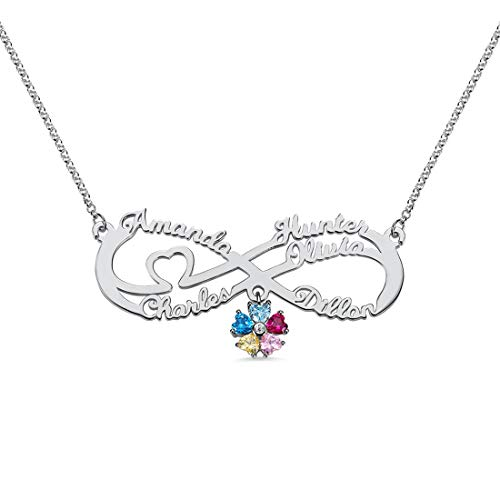 Engraved 1-6 Name & Letter Infinite Knot Necklace Personalized Birthstone Pendant Chain Birthday Valentine's Day Anniversary Mother's Day Jewelry Ideal(Silver-24)