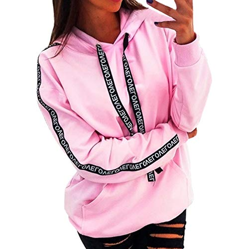 Xinantime Womens Hoodies Plus Size Blouse Long Sleeve Solid Sweatshirt Hooded Pullover Tops Shirt Pink