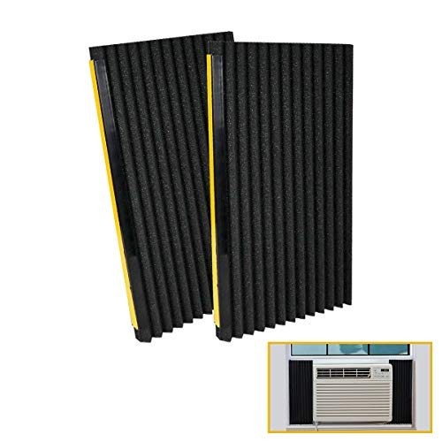LBG Products Window Air Conditioner Foam Insulation Panels, AC Side Insulating Panel Kit, 2 Pack,Black, 17in High x 9in Wide x 7/8in Thick