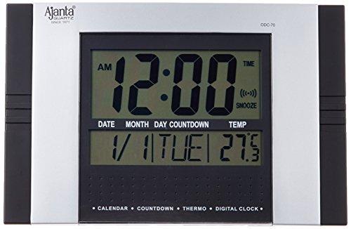 Ajanta Quartz Plastic Rectangle Digital Alarm Wall Clock (29 cm x 19 cm x 2.5 cm, Black, ODC 70)