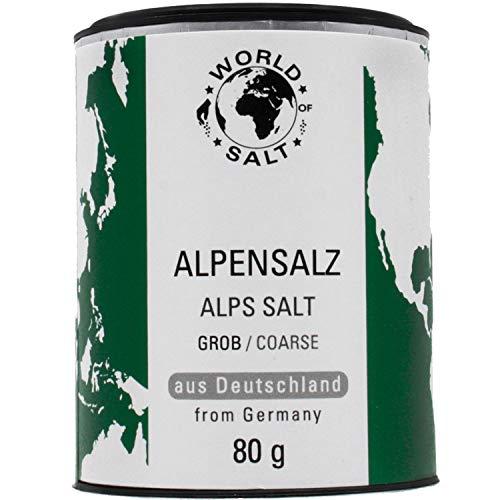 Pepperworld Alpensalz, grobes Speise-Salz aus Deutschland, naturbelassene Salz-Sorte in grober Körnung, mit Mineralien, 80 g