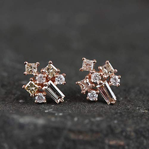 Women/'s Day Special Gift Solid 14k Yellow Gold Dangle Stud Earrings Natural 0.23 Ct Diamond Pave Fine Jewelry