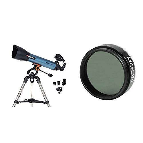 Celestron 22403 Inspire 100AZ Refractor Smartphone Adapter Built-In Refracting Telescope - Blue & 94119-A 1.25 Inch Moon Filter