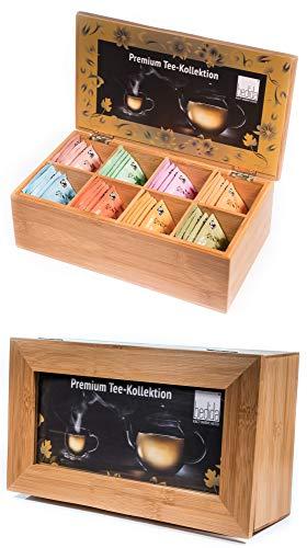 40er Tee Set/Geschenk-Set / 8 Geschmacksrichtungen je 5 Stück/Teebeutel PREMIUM-KOLLEKTION TEEBOX MIT FENSTER Holzbox/Bambusbox/Vorratsbox auch für Teeblumen/Erblühtee in Bambus Natur by Feelino