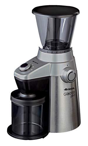 Ariete Grinder Pro Kaffeemühle Elektro Profi, 15Stufen Mahlleistung, 150W, 0.3kg, Kunststoff, Silver/Schwarz