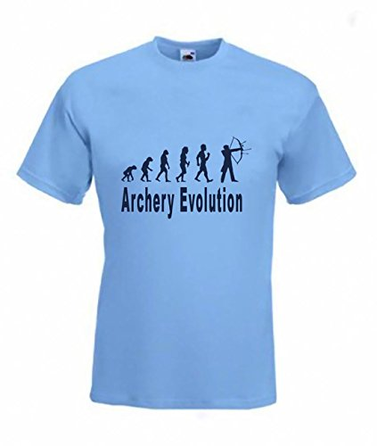 Evolución de tiro con arco camiseta Funny Archer SM camiseta, tallas a 2x xl Azul azul celeste medium