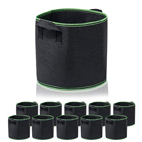 Garden4Ever 10-Pack 5 Gallon Grow Bags Heavy Duty Container Thickened Nonwoven Fabric Plant Pots with Handles