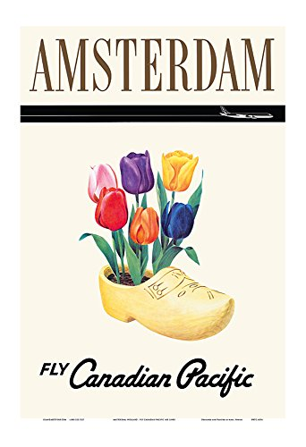 Amsterdam, Holanda - Tulipanes holandeses en un Zueco de Madera - Aerolínea Canadian Pacific - Póster Viaje Línea aérea - Impresión de Arte 33x48cm