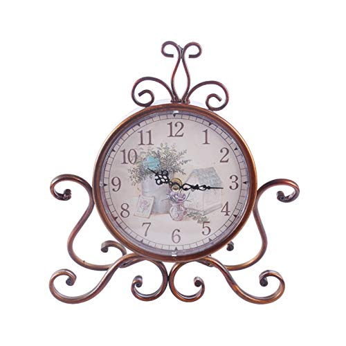 yywl Reloj Despertador Unicado Estilo Europeo Retro Reloj de Escritorio clásico Hierro Arte silencioso Mesa Despertador decoración casera Sala de Estar (Color : Type 2)