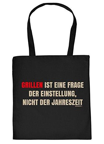 Sprüche-Tasche/Einkaufstasche/Stoffbeutel Rubrik Grillen: Grillen ist eine Frage der Einstellung, nicht der Jahreszeit