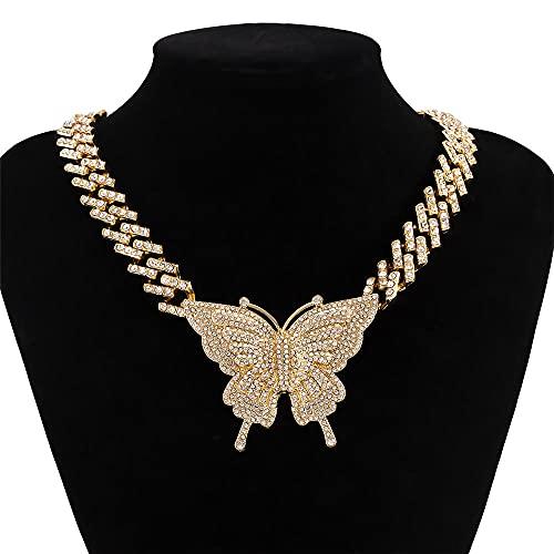 LKHJ Collar Hip Hop Mujeres Grandes Rhinestone Cristal Cadena de Mariposa Colgante Colgante Joyería-A