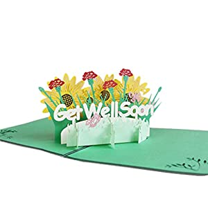 Milue 3D Get Well Soon Card Flowers Greeting Card Sympathy Mothers Day Wedding Anniversary Birthday Postcards with Envelope – for Party Invitations and Wedding Invitations