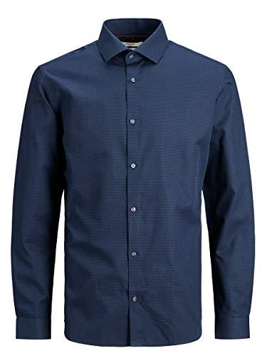 Jack & Jones Jprblaviggo Dobby Shirt L/S Noos Camisa, Bleu Marine, XL para Hombre