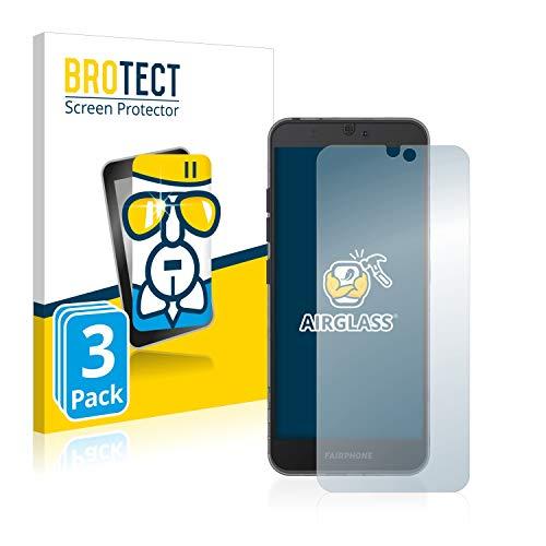 BROTECT Panzerglas Schutzfolie kompatibel mit Fairphone 3 (3 Stück) - AirGlass, extrem Kratzfest, Anti-Fingerprint, Ultra-transparent