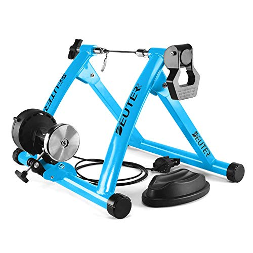 Bike Trainer, Magnetic Bicycle Stationary Stand for Indoor Exercise Riding, Portable, Quick Release Skewer & Front Wheel Riser Block Included