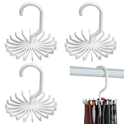 BigOtters 4 Pack White Twirl Tie Rack, 4.4 Inches 360 Degree Rotating Scarf Hanger Adjustable Tie Belt, Multipurpose Organizer, Hook Ties Scarf for Closet Storage (Medium)