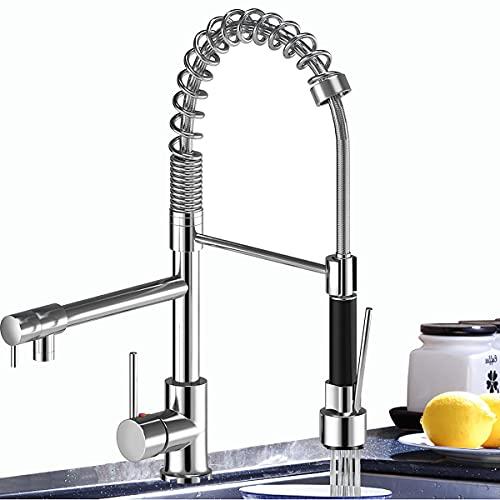 Miscelatore per lavello rubinetto da cucina in ottone cromato con rotazione a 360° singolo foro estraibile spruzzatore girevole miscelatore beccuccio doppio spruzzatore cucina lavello rubinetto